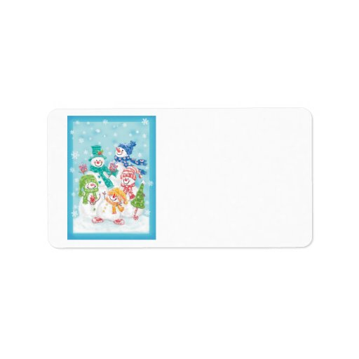 Cute Christmas Snowman Family in the Snow Personalized Address Labels