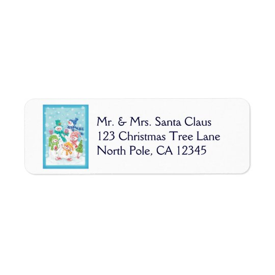 Cute Christmas Snowman Family in the Snow Label