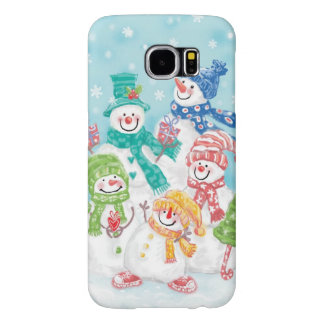 Cute Christmas Snowman Family in the Snow Samsung Galaxy S6 Case
