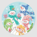 Cute Christmas Snowman Family in the Snow Stickers