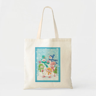 Cute Christmas Snowman Family in the Snow Tote Bag