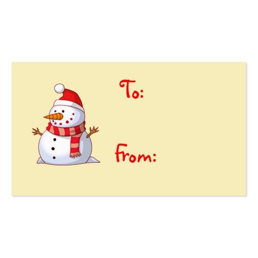 Cute Christmas Snowman gift card Business Card Templates