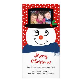Cute Christmas Snowman Photo Card