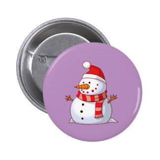 Cute Christmas Snowman Pinback Button