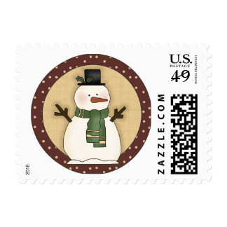 Cute Christmas Snowman Postage Stamp
