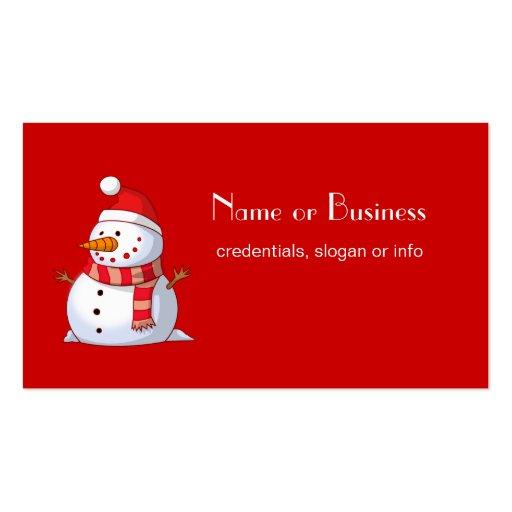 Cute Christmas Snowman Professional Business Card Template