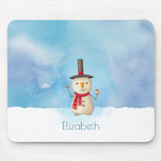 Cute Christmas Snowman Waving And Smiling Mouse Pad
