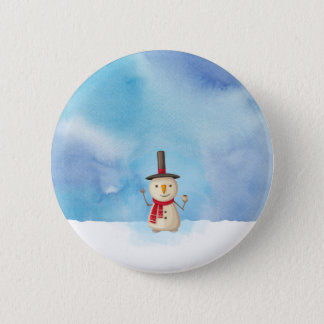 Cute Christmas Snowman Waving And Smiling Pinback Button