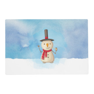 Cute Christmas Snowman Waving And Smiling Placemat