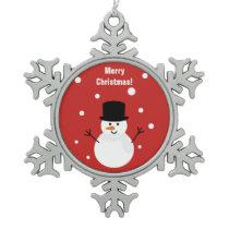 Cute Christmas Snowman Winter Festive Holiday Snow Snowflake Pewter Christmas Ornament