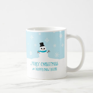 Cute Christmas Snowman with Blue Scarf Mug