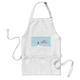 Cute Christmas Snowman with Snowflakes Apron
