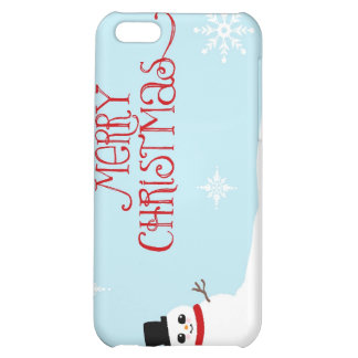 Cute Christmas Snowman with Snowflakes iPhone 5C Covers