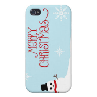 Cute Christmas Snowman with Snowflakes iPhone 4/4S Cases