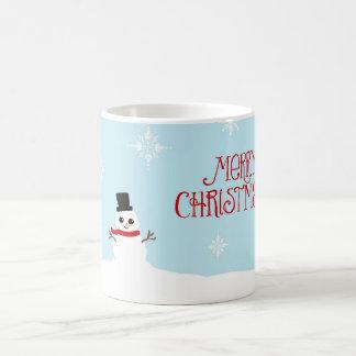 Cute Christmas Snowman with Snowflakes Mug