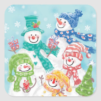 Cute Christmas Snowmen Stickers