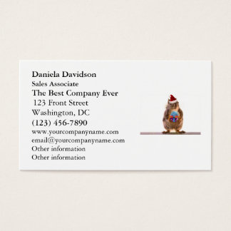Cute Christmas Squirrel and Gift Business Card