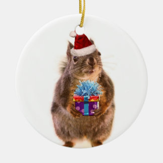 Cute Christmas Squirrel and Gift Ceramic Ornament