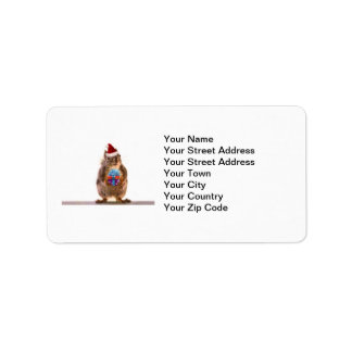 Cute Christmas Squirrel and Gift Label