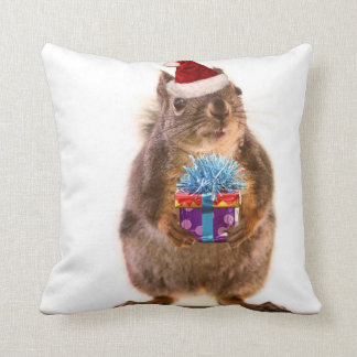 Cute Christmas Squirrel and Gift Throw Pillows