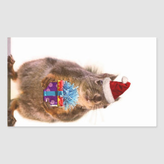 Cute Christmas Squirrel and Gift Rectangular Sticker