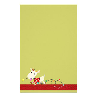 Cute Christmas Stationery: Goat & Christmas Lights