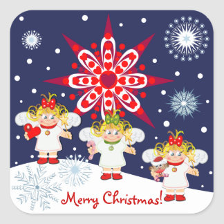 Cute Christmas sticker with text, angels & snow