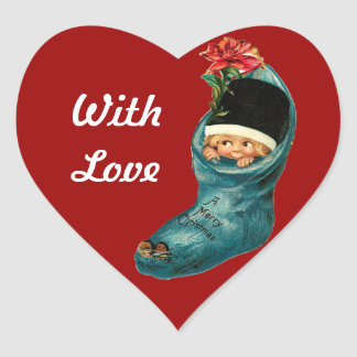 Cute Christmas Stocking and Little Child,Red Heart Heart Sticker