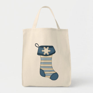 Cute Christmas Stocking-Blue Stripes Tote Bag