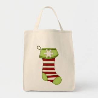 Cute Christmas Stocking-Green with Red Stripes Tote Bag