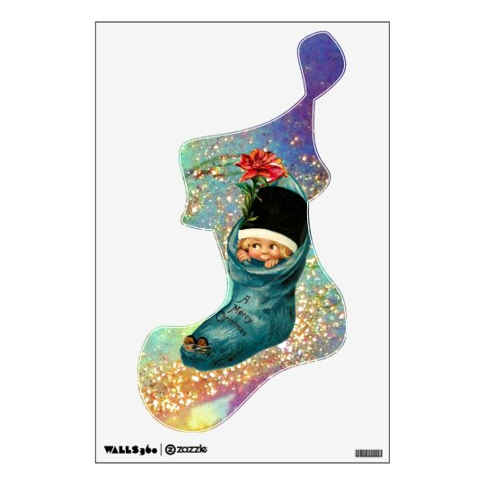 Cute Christmas Stocking in Blue Gold Sparkles Wall Decal