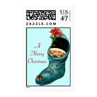 Cute Christmas Stocking ,Little Child,Blue Red Postage Stamp