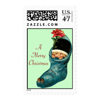 Cute Christmas Stocking ,Little Child,Green Red Stamp