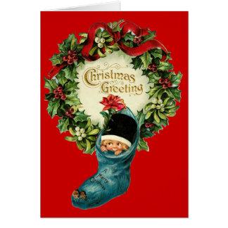Cute Christmas Stocking ,Little Child, Mistletoes Card