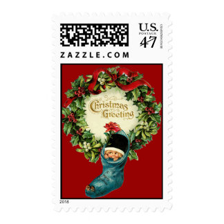 Cute Christmas Stocking ,Little Child,Mistletoes Postage Stamp