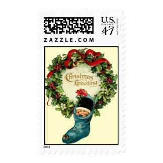 Cute Christmas Stocking ,Little Child,Mistletoes Stamp