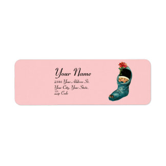 Cute Christmas Stocking ,Little Child Pink Blue Label