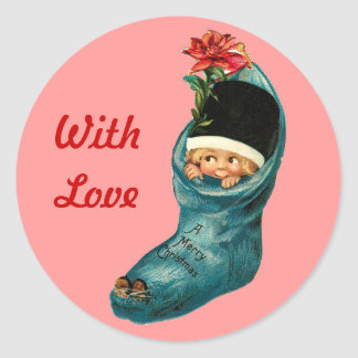 Cute Christmas Stocking ,Little Child,Pink Red Classic Round Sticker