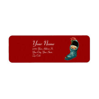 Cute Christmas Stocking ,Little Child Red Blue Label