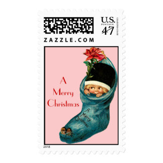 Cute Christmas Stocking ,Little Child,Red Pink Postage Stamp