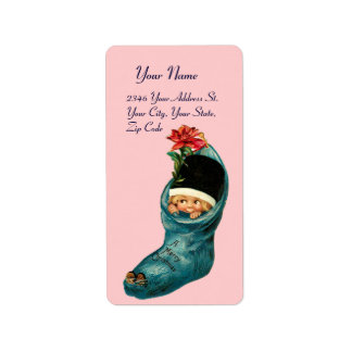 Cute Christmas Stocking ,Little Child,White Pink Label