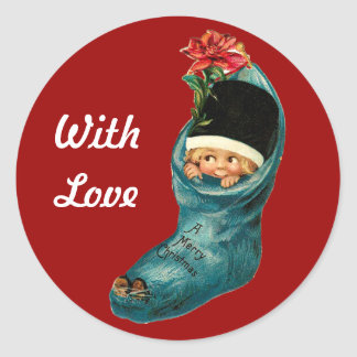 Cute Christmas Stocking ,Little Child,White Red Classic Round Sticker