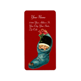 Cute Christmas Stocking ,Little Child,White Red Label