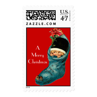 Cute Christmas Stocking ,Little Child,White Red Postage