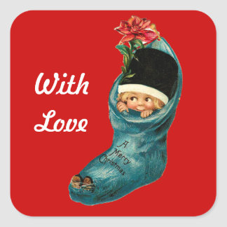 Cute Christmas Stocking ,Little Child,White Red Square Sticker