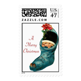 Cute Christmas Stocking ,Little Child,White Red Stamp