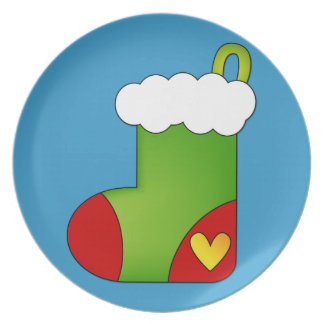 Cute Christmas Stocking with heart Melamine Plate