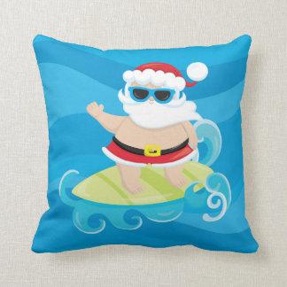 Cute christmas Surfing Santa Beach House pillow