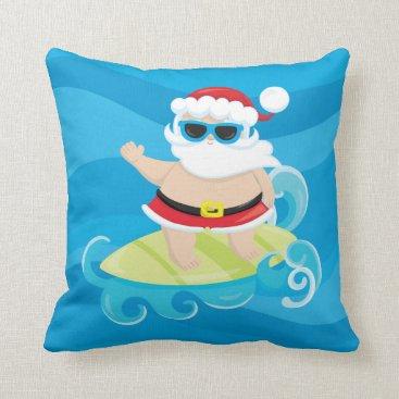 Beach Themed Cute christmas Surfing Santa Beach House pillow