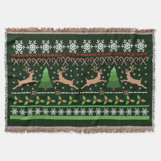 Cute Christmas Sweater Pattern Holiday Reindeer Throw